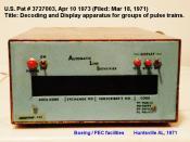 English: Original Caller Identification receiver installed at Boeing/PEC facility in Huntsville Alabama