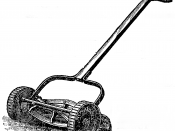 English: A reel lawn mower, adapted from an illustration used in an advertisement in a 1888 issue of Garden and Forest. The ad was placed by Chadborn & Coldwell Manufacturing in Newburgh, New York.