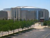 The United Center in Chicago, Illinois, home of the Chicago Bulls NBA team and Chicago Blackhawks NHL team. Photographed from °00′00″N °00′00″W  /  41.8818°N 87.6701°W  / 41.8818; -87.6701 latd>90 (d format) in latd in a train on t