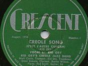 English: Crescent Records 78 label, from record by Kid Ory band.