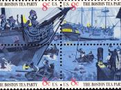 English: US Postage stamps, Boston Tea Party, issue of 1973, block of four, 8c