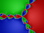 English: Julia set for the rational function associated to Newton's method for ƒ:z→z3−1, created using Java.