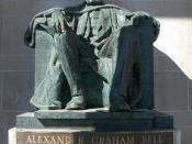 Cleeve Horne's sculpture of Alexander Graham Bell in front of the Brantford Bell Telephone Building