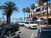 street leading to the pier in Huntington Beach, California, USA,