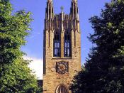 Gasson Hall on the campus of Boston College in Chestnut Hill, Massachusetts.