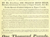 English: 1837 Proclamation for the arrest of William Lyon Mackenzie