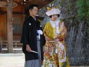 Couple married in a shinto ceremony in Takayama, Gifu prefecture