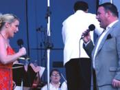 Robin Follman and Scott Ramsay performan as part of the National Endowment for the Arts' Great American Voices concert at Camp Lejeune on July 4, 2005.