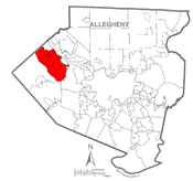 A map of Allegheny County showing Moon Township, Pennsylvania (alternate) highlighted on the map.