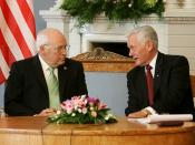 Vice President Dick Cheney listens to Lithuanian President Valdas Adamkus during a bilateral meeting held at the Presidential Palace in Vilnius, Lithuania, May 3, 2006. Presidential Palace.