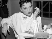 Singer Judy Garland in her dressing room at Greek Theater Los Angeles, Calif.