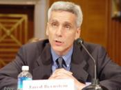 English: Photo of Jared Bernstein testifying to the US Senate on May 26, 2005.