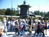A big group of elementary school students on a field trip at Todaiji Temple, Nara, Japan.