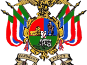 English: Illustration of arms of the South African Republic (Transvall) from National and Provincial Symbols of the Republic of South Africa by F G Brownell. Information on arms and flag from National and Provincial Symbols, historical information from va