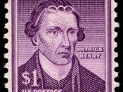 English: US Postage stamp, Patrick Henry, 1955 issue, $1, violet Česky: Americká poštovní známka s portrétem Patricka Henryho v hodnotě 1 dolaru, fialové barvy, vydána roku 1955