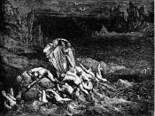 High resolution scan of engraving by Gustave Doré illustrating Canto VII of Divine Comedy, Inferno, by Dante Alighieri. Caption: Virgil shows Dante the Souls of the Wrathful