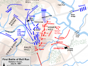 English: Map of First Battle of Bull Run (2pm, July 21, 1861 of the American Civil War. Drawn in Adobe Illustrator CS5 by Hal Jespersen. Graphic source file is available at http://www.posix.com/CWmaps/
