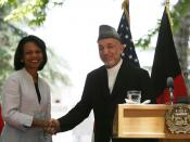 Secretary Rice meets with Afghan President Hamid Karzai in Kabul, Afghanistan. June 28, 2006