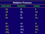 English: Greek Relative Pronoun