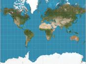 English: The world on Mercator projection between 82°S and 82°N. 15° graticule. Imagery is a derivative of NASA's Blue Marble summer month composite with oceans lightened to enhance legibility and contrast. Image created with the Geocart map projection so