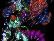 A Protoss warrior and a Zerg creature, as they appeared during StarCraft ' s production in 1996.