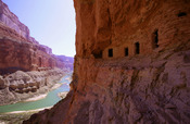 English: Ancestral Puebloan granaries high above the Colorado River at Nankoweap Creek, Grand Canyon.