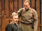 Scene from the Saratov Academic Performance theater drama «Hamlet» based on the play by Shakespeare. Cast Victor Mamonov, Alexander Kuzmin
