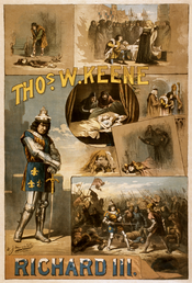 A circa 1884 poster for William Shakespeare's Richard III, starring Thos. W. Keene.