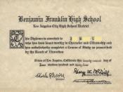 English: Benjamin Franklin High School Diploma - 1934