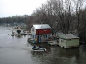 Community of boathouses on the Mississippi River in Winona, MN (2006)