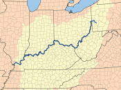 Drainage basin of the Ohio River, part of the Mississippi River drainage basin.