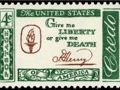 English: US Postage stamp, Credo issue of 1961, 4c, famous quote by Patrick Henry