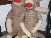 A pair of homemade sock monkeys.