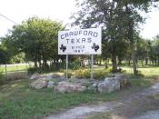 English: Crawford, Texas, Est. 1867