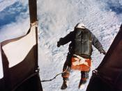 Joseph Kittinger's record-breaking skydive from 102,800 feet (31,300 m). Photograph by Volkmar Wentzel.