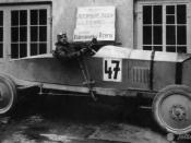 English: Nesselsdorfer Wagenbau-Fabriksgesellschaft type T or later known as Tatra 20 as a racecar. The driver is Josef Veřmiřovský.