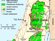 Map showing the West Bank and Gaza Strip in relation to central Israel (situation of 2007)