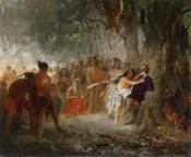 Pocahontas rettet das Leben des Captain John Smith, signiert J. F. Engel, öl auf Leinwand, 55 x 67 cm