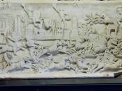 English: Roman half-relief with a quadriga race in the Circus Maximus, Rome (2-3rd century); Trinci Palace, Foligno, Italy