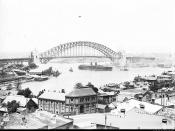 Sydney Harbour Bridge viewed from North Sydney, late 1931