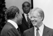 President Jimmy Carter welcomes Egyptian President Anwar Sadat at the White House, Washington, D.C.