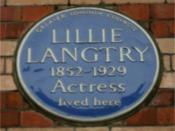English: Blue plaque to Lillie Langtry on the Cadogan Hotel, 22 Pont Street, London, England. Photographed by me 29 September 2006. Oosoom