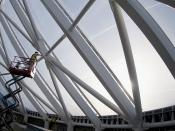 Painting the steel frame of the roof in the National Geospatial-Intelligence Agency Campus East
