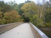 English: The footbridge leading into Teddy Roosevelt Island