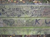 The bench in Viretta Park, Seattle, Washington, has been heavily graffitied as a de facto memorial to singer , who lived the last part of his life in a home directly adjacent to the park.