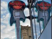 The Hard Rock Cafe in Seattle's sign, based on Kurt Cobain's Competition Blue Mustang used in the iconic Smells Like Teen Spirit Video