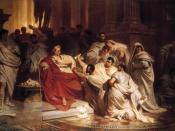 Caesar's Death. Attention: Image is laterally reversed! For the original image, see File:Karl Theodor von Piloty Murder of Caesar 1865.jpg