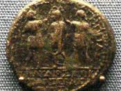 English: Herold_of_Chalcis_coin_showing_Herod_of_Chalcis_with_brother_Agrippa_of_Judaea_crowning_Roman_Emperor_Claudius_I