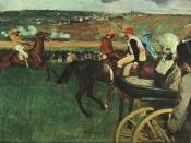 English: At the Races, 1877-1880, Edgar Degas, Musée d'Orsay, Paris.Bequest of Comte Isaac de Camondo, Oil on canvas, 66 x 81 cm 750x566px http://cgfa.sunsite.dk/degas/index.html Category:Images of paintings
