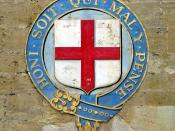Emblem of the Order of the Garter at Windsor Castle with motto